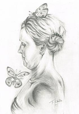 Poster featuring the drawing Loves- Her Butterflies by Teresa White
