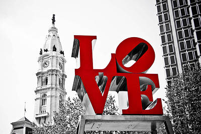 Love Park And City Hall Bw Poster