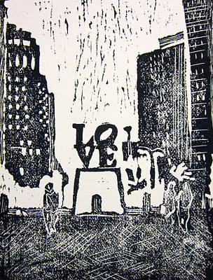 Love Park In Black And White Poster by Marita McVeigh