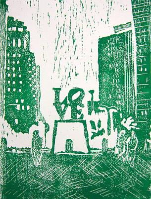 Love Park In Green Poster by Marita McVeigh