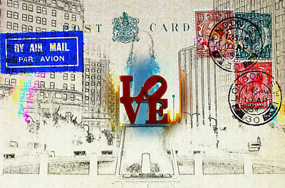 Love Park Post Card Poster by Bill Cannon