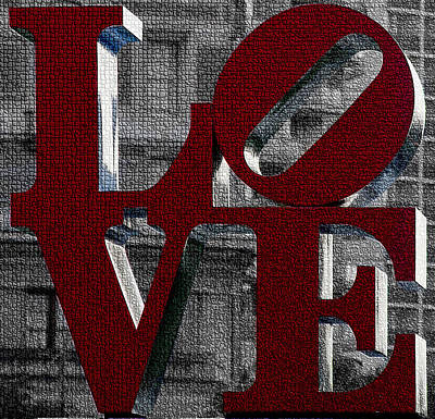 Love Philadelphia Red Mosaic Poster