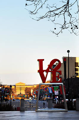 Love Statue And The Art Museum Poster by Bill Cannon
