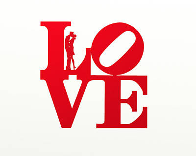 Love Typography - Red On White Poster