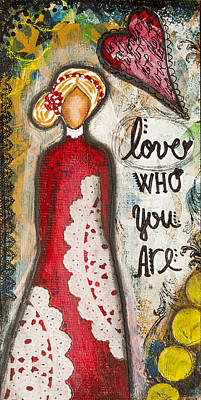 Love Who You Are Inspirational Mixed Media Folk Art Poster