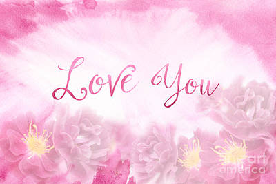 Love You Dark Pink Roses Watercolor Background Poster