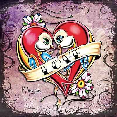 Lovebirds Poster by Maria Arango
