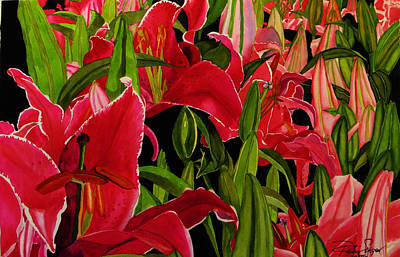 Poster featuring the painting Lovely Lillies by Debi Singer