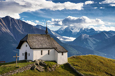 Lovely Little Chapel In The Swiss Alps Poster