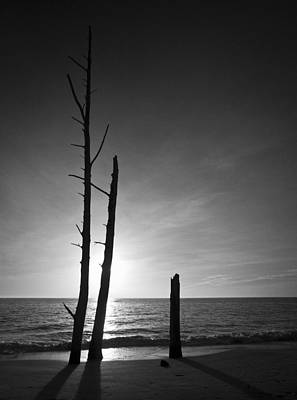 Lovers Key Sunset Black And White One Poster