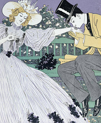 Lovers On A Bench Poster by Otto Eckmann