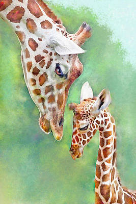 Poster featuring the digital art Loving Mother Giraffe2 by Jane Schnetlage