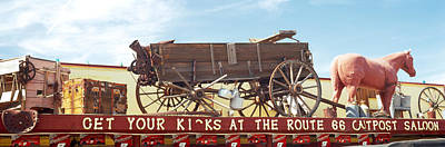 Low Angle View Of A Horse Cart Statue Poster by Panoramic Images