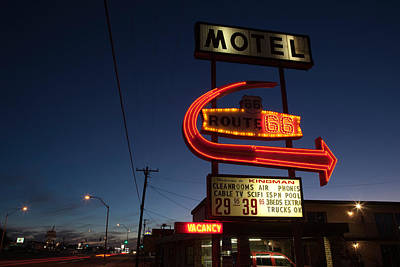 Low Angle View Of A Motel Sign, Route Poster