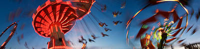 Low Angle View Of Amusement Park Rides Poster by Panoramic Images