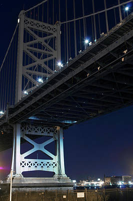 Low Angle View Of Bridge At Night Poster