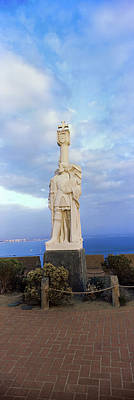 Low Angle View Of Cabrillo Statue Poster