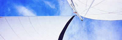 Low Angle View Of Sails On A Sailboat Poster by Panoramic Images