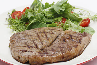 Low Carb Steak And Salad Closeup Poster by Paul Cowan
