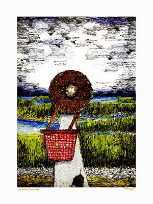 Low Country Oyster Basket Poster by C F  Legette