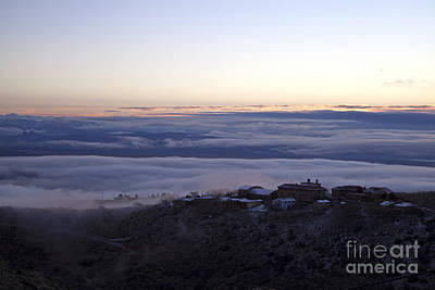 Low Lying Clouds In Waves Before Sunrise Over Jerome Arizona Poster
