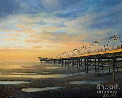 Low Tide In Southport Poster by Kiril Stanchev