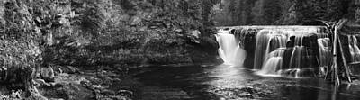 Lower Lewis River Waterfall Panorama - Black And White Poster by Mark Kiver
