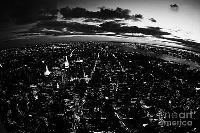 Lower Manhattan New York City Night Sunset Dark  Poster