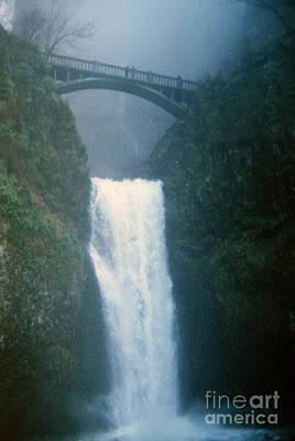 Lower Multnomah Falls Through The Mist Poster