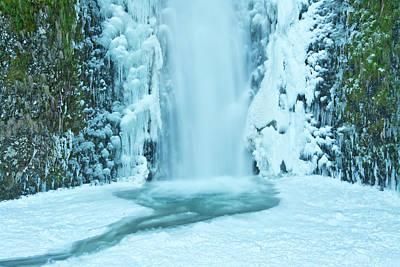 Lower Multnomah Falls, Winter, Frozen Poster