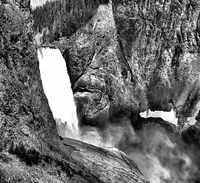 Lower Yellowstone Falls Black And White Poster by Dan Sproul