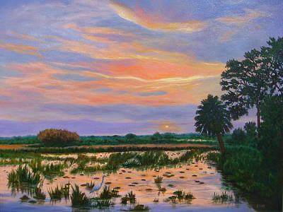 Poster featuring the painting Loxahatchee Sunset by Karen Zuk Rosenblatt