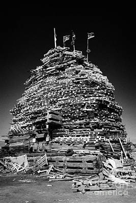 Loyalist 11th Night Bonfire Built On Newtownards Road In Belfast Northern Ireland Poster by Joe Fox