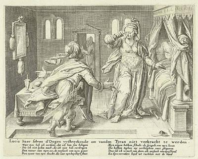 Lucia Raises Her Eyes, Zacharias Dolendo Poster by Jacob De Gheyn (ii) And Claes Jansz. Visscher (ii)