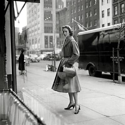 Lucille Carhart Window Shopping On A Street Poster