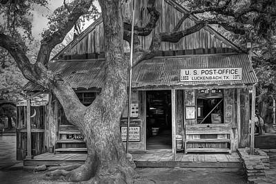 Luckenbach 2 Black And White Poster by Scott Norris