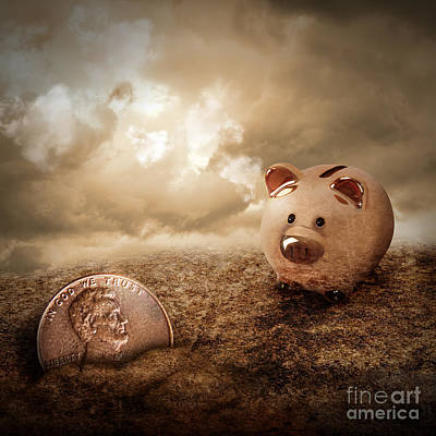Lucky Piggy Bank Finds Lost Penny In Dirt Poster by Angela Waye