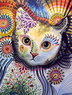 Lucy ... Abstract Cat Art Poster by Amy Giacomelli