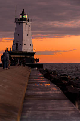 Ludington Pier And Lighthouse Poster by Sebastian Musial
