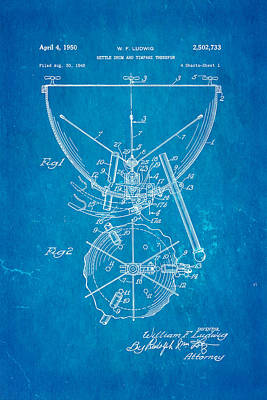 Ludwig Kettle Drum And Timpani Patent Art 1950 Blueprint Poster by Ian Monk
