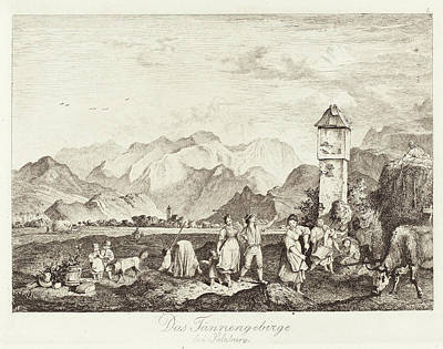 Ludwig Richter German, 1803 - 1884, Das Tännengebirge Bei Poster by Quint Lox