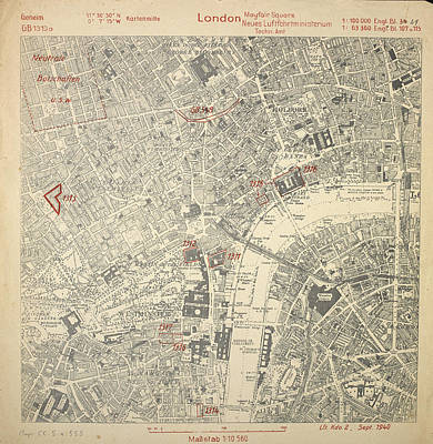 Luftwaffe Map Of London Poster by British Library
