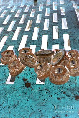 Lug Nuts On Grate Vertical Turquoise Copper Poster by Heather Kirk