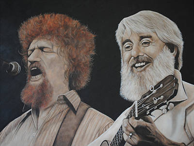 Poster featuring the painting Luke Kelly And Ronnie Drew by David Dunne