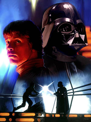 Luke Skywalker Vs Darth Vader Poster by Paul Tagliamonte