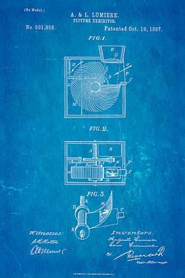 Lumiere Projector Patent Art 1897 Blueprint Poster