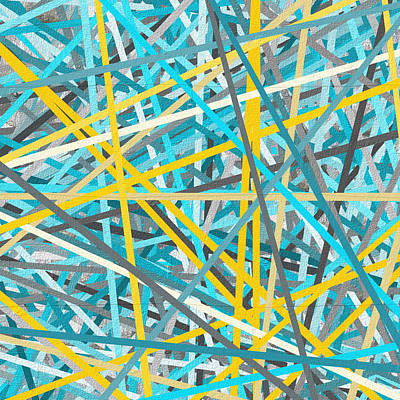 Luminous Attachment - Yellow And Turquoise Abstract Poster by Lourry Legarde