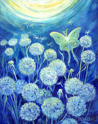 Luna Moth In Moonlight With Dandelions Poster