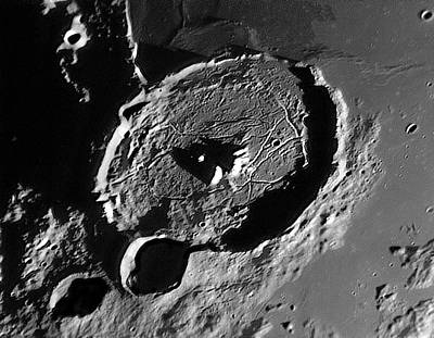 Lunar Crater Gassendi At Sunrise Poster by Damian Peach