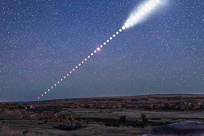 Lunar Eclipse From Beginning To End Poster by Alan Dyer